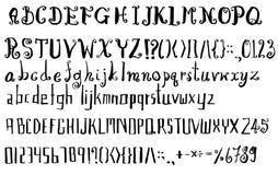 Комплект линии нарисованной рукой эскиза иллюстрации щетки шрифта eps стоковая фотография rf