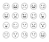 Комплект линии смайликов искусства круглых или значков серого цвета иллюстрации emoji иллюстрация штока