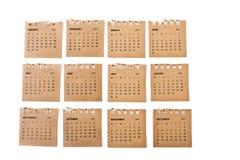 Комплект листов календаря стоковое фото rf