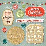Комплект литерности рождества и Новый Год Стоковое Изображение