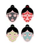 Комплект лицевого щитка гермошлема женщины Мазь и грязь Клубники и cucumbe бесплатная иллюстрация