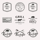 Комплект логотипа барбекю стоковая фотография rf