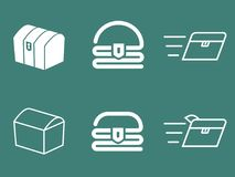 Комплект логотипа вектора сундука с сокровищами Стоковые Изображения