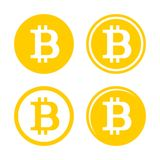 Комплект логотипа знака Bitcoin Стоковая Фотография