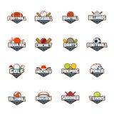 Комплект логотипа спорт Футбол, бейсбол, баскетбол, билльярды, боулинг, сверчок, дротики, гольф, хоккей, пингпонг, покер иллюстрация вектора