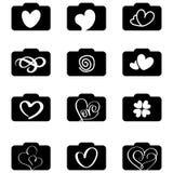 Комплект логотипов значков фотографии для свадьбы влюбленности Иллюстрация EPS10 вектора Стоковое Изображение RF