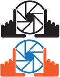 Комплект логотипов камеры с руками - иллюстрация иллюстрация штока