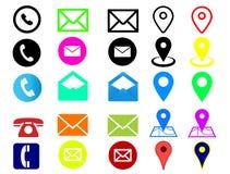 Комплект логотипов контакта на белой предпосылке стоковая фотография