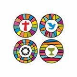 Комплект логотипов церков нарисованных вручную иллюстрация вектора