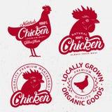 Комплект логотипов цыпленка, ярлыков, печатей, плакатов для мясника иллюстрация штока
