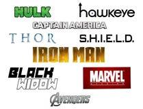 Комплект логотипов чуда мстителей стоковые фото