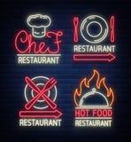 Комплект логотипов, ярлыков для ресторана, столовой, еды магазина Логотипы, подписывают внутри неоновый стиль Накаляя знаки, ярки иллюстрация вектора