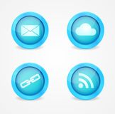 Комплект лоснистых икон интернета Стоковое Фото