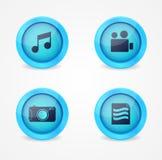 Комплект лоснистых икон мультимедиа Стоковое Изображение