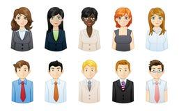 Комплект людей проиллюстрированный значками иллюстрация вектора