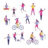 Комплект людей работая и имея потеху бесплатная иллюстрация