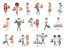 Комплект людей ходя по магазинам иллюстрация вектора