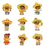 комплект людей иконы шаржа мексиканский Стоковые Фото