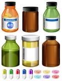 Комплект медицины и контейнера иллюстрация штока