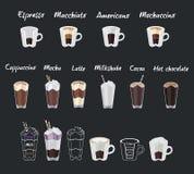 Комплект меню кофе с чашками кофе выпивает Стоковые Фото