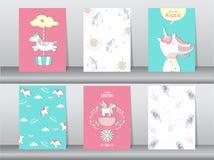 Комплект милого плаката фантазии, шаблона, карточек, единорога, животных, иллюстраций вектора Стоковые Фотографии RF
