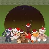 Комплект милого плюша забавляется в шляпах рождества, щенке, овечке, Стоковые Фотографии RF