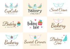 Комплект милого сладостного ярлыка и логотипа значка хлебопекарни иллюстрация штока