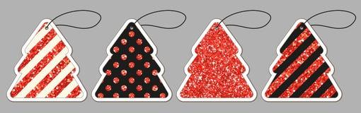 Комплект милых винтажных ценников яркого блеска сформировал как рождественская елка иллюстрация вектора