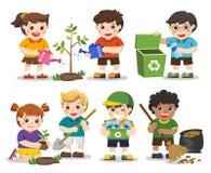 Комплект милых волонтеров детей земля сохраняет бесплатная иллюстрация