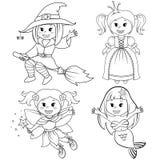 Комплект милых девушек сказки Ведьма, русалка, принцесса и фея хеллоуина Черно-белая иллюстрация вектора для книжка-раскраски иллюстрация штока