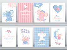 Комплект милых животных плаката, поздравительных открыток, podters, шаблона, карточек, северных оленей, кроликов, иллюстраций век иллюстрация штока