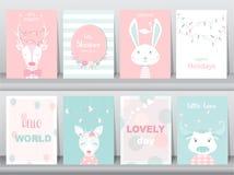 Комплект милых животных плаката, поздравительных открыток, podters, шаблона, карточек, северных оленей, кроликов, детского душа,  Стоковые Изображения