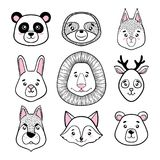 Комплект милых животных сторон чернит, белый панда, лень, белка, зайчик, лев, олень, собака, лиса, медведь Скандинавский тип holi иллюстрация вектора