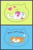 Комплект милых знамен с играть смешных котов бесплатная иллюстрация