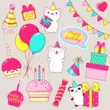 Комплект милых значков вечеринки по случаю дня рождения в стиле kawaii Стоковая Фотография