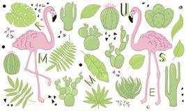 Комплект милых значков лета: зеленые тропические листья, кактус и фламинго Яркий плакат летнего времени Собрание scrapbooking эле иллюстрация штока