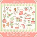 Комплект милых значков рождественской вечеринки в ретро стиле иллюстрация вектора