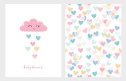 Комплект 2 милых иллюстраций вектора Розовое усмехаясь облако с падая сердцами Розовый текст детского душа иллюстрация вектора