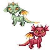 Комплект милых, который подогнали драконов красных и зеленого цвета изолированный на белой предпосылке Иллюстрация конца-вверх ша бесплатная иллюстрация