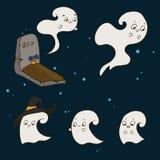 Комплект милых призраков в кладбище на хеллоуин иллюстрация вектора