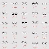 Комплект милых смайликов с различными эмоциями стоковые изображения