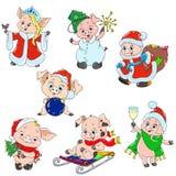 Комплект милых характеров на Новый Год Характеры рождества Piggy шарж для поздравительной открытки Вектор для дизайна стоковое изображение