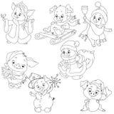 Комплект милых характеров на Новый Год Характеры рождества Piggy шарж для красить книгу Элементы вектора стоковые фотографии rf