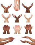 Комплект многонациональных рук держа или предлагая что-то Стоковые Изображения RF