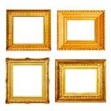Комплект много античных рамок золота изолированных на белизне Стоковые Изображения RF