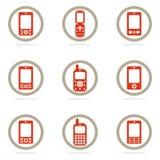 комплект мобильного телефона иконы иллюстрация штока