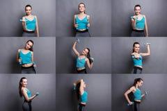 Комплект молодой женщины делая фитнес работает с гантелями стоковые изображения