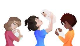 Комплект молодых многонациональных матерей с младенцами иллюстрация вектора