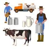 Комплект молочной фермы иллюстрация штока
