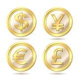 комплект монетки золотистый Стоковые Фотографии RF